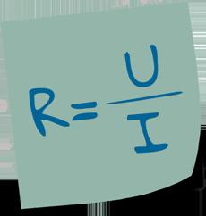 Formel für Büroorganisation: Widerstand = Spannung / Stromstärke
